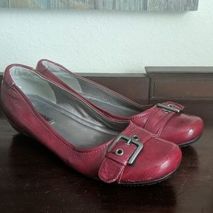 Ecco Patent Red Buckle Flats